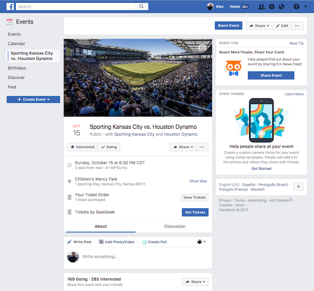 Facebook-SeatGeek Integration Screenshot