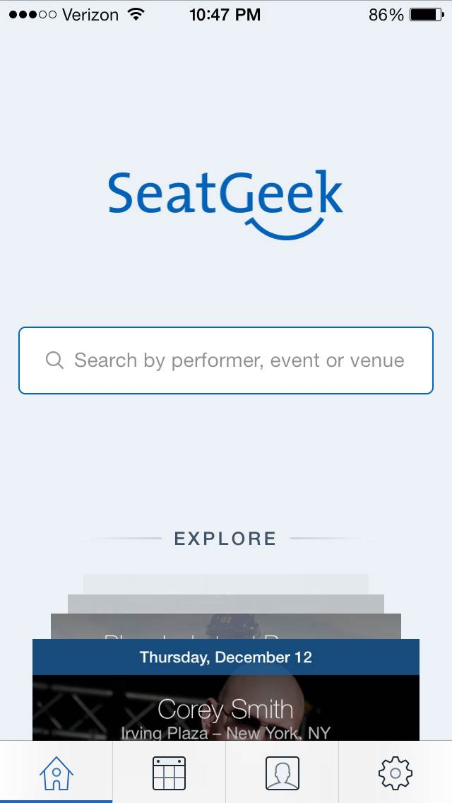 SeatGeek for iOS Homescreen