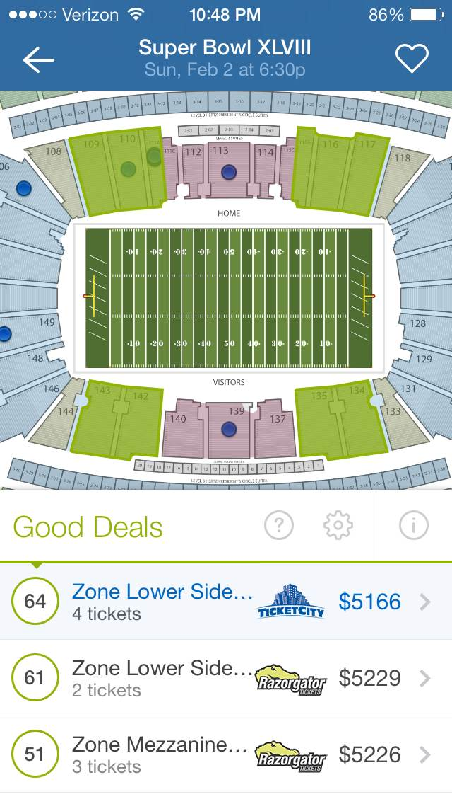 SeatGeek for iOS Zones
